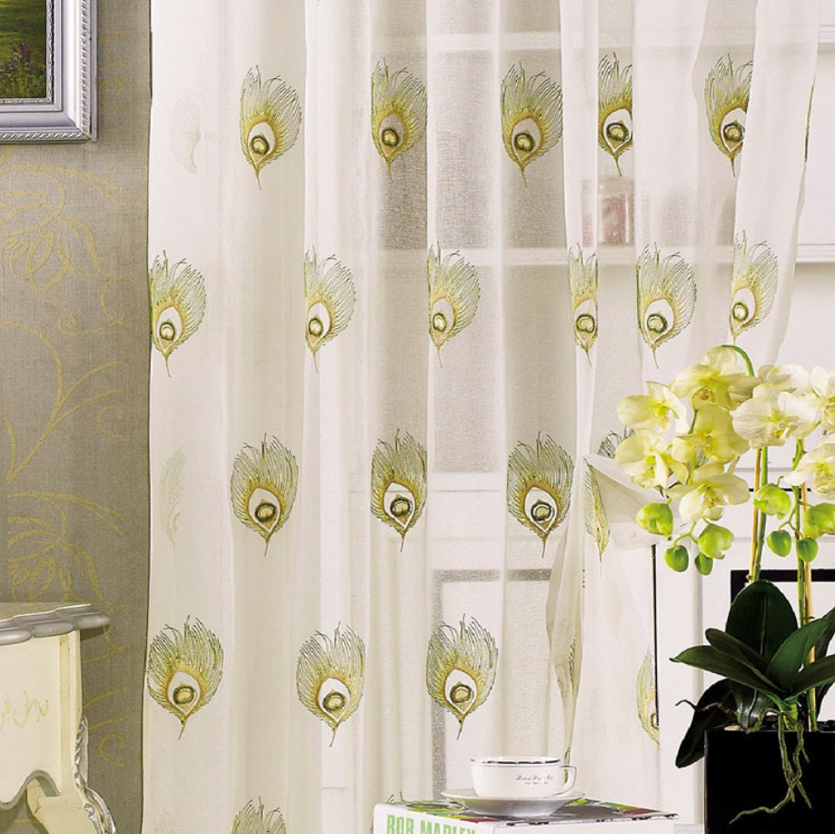 Two Peacock Sheer Curtains Custom Made To Order Upto