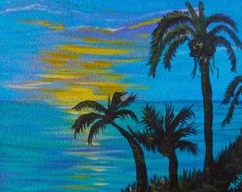 Tropical landscape, palm trees, ocean sunset, Gilcee Print, impressionism art, ocean breeze, tropical paradise, island art