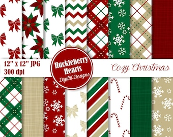 80% OFF SALE Cozy Christmas Digital Papers, Christmas Patterns, Christmas Paper, Holiday Paper, Scrapbook Paper