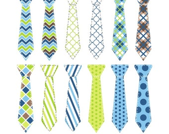 80% OFF SALE Neck Tie Clipart, Digital Ties, Digital Neck Ties, Blue and Green, Little, Man, Dad, Father's Day, Boy