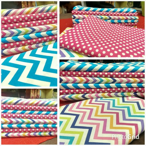 Kids fabric fabric bundle baby fabric chevron dots for Childrens fabric bundles