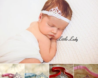 Glitter Baby Girl Headband Rhinestone Crown Tiara Photo Pro Wedding Christening