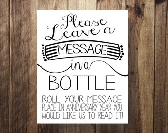 Message in a Bottle, Guest Book, Beach, Rustic, Wedding Reception, DIY Wedding Printable, Instant Download Digital File