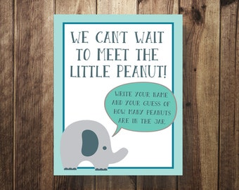 Elephant Baby Shower Game, Guess How Many Peanuts in the Jar, Baby Shower Game Sign, Blue, Gray, Teal, Baby Shower Sign, DIY Shower Game