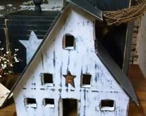 Lighted Handmade Primitive Wood Saltbox House White