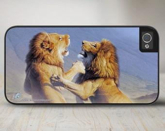 """Lions iPhone 5 Case, Lion Roar iPhone 5s Case, Lion iPhone Case Protective Phone Case """"Mortal Combat"""" 50-8200"""