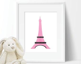 Baby Girl Nursery Art - Girl Nursery Decor - Paris Decor - Paris Print - Eiffel Tower Art - Bedroom Art - Paris Nursery - Pink Black (S-245)