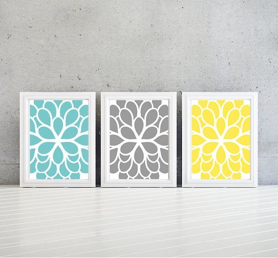 flower wall art teal blue yellow gray dahlia flower print. Black Bedroom Furniture Sets. Home Design Ideas