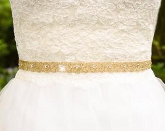 Gold Lace Sash, Thin Crystal Wedding Sash, Thin Belt, Gold Wedding Belt, Unique Sash, Gold Bridal Belt, Gold Lace Wedding Sash- VIRGINIA