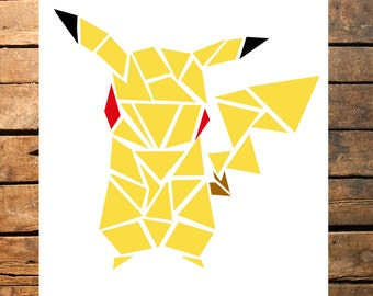 Geometric Pokemon Pikachu Digital Print