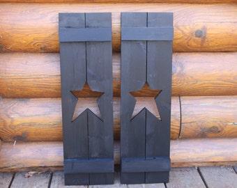 Primitive star shutters. Set of 2.