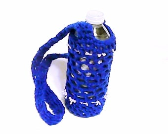 Water bottle cozy, bottle carrier, bottle sleeve, crocheting bottle cover, jar cozy, drink case, crocheted holder, can kozy, royal blue gift