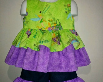 Girls Toddlers Tinkerbell Tink Peter Pan Boutique Birthday Party Short & Tank Top Shirt Set Princess Park Outfit! Fairies Fairy Neverland