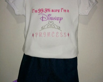 Girls Toddlers 99.9% Sure I'm a Princess Boutique Birthday Party Short & Shirt Set Princess Park Outfit! Belle Tangled Rapunzel Cinderella