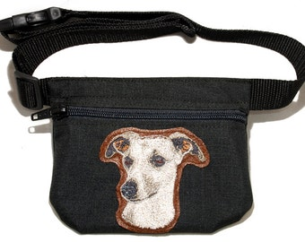Whippet embroidered dog treat bag /dog treat pouch with waist belt. For dog shows, dog walking and training. Great gift for dog lovers.