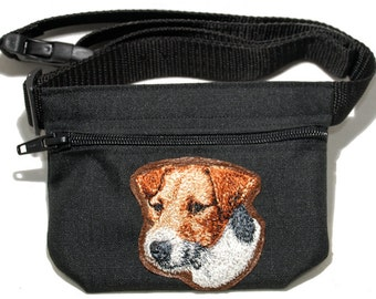 Jack Russel terrier embroidered dog treat bag / dog treat pouch w/ belt. For dog shows, dog walking and training. Great gift for dog lovers.