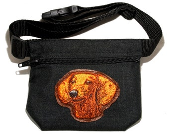 Dachshund embroidered dog treat bag / dog treat pouch. For dog shows, walking and training. Great gift for dog lovers.