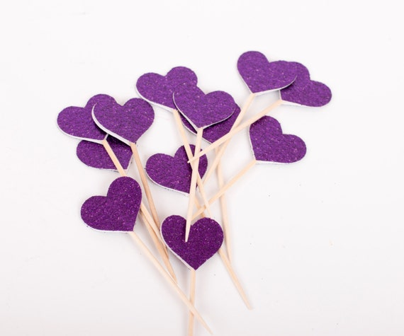 Purple Glittered Hearts on Toothpicks, Purple Heart Food Picks, Party Decoration, Birthday Party Suppy, Bachelorette Party, Set of 24 (PT2)