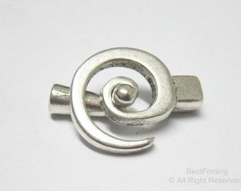 5pcs Antique silver spiral clasp 3mm leather clasp Leather wrap bracelet clasps