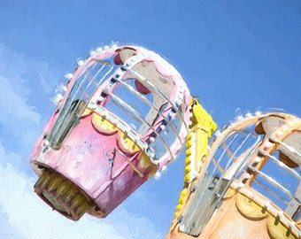 Art print, ACEO, carnival photography, pastel, nursery, child room, fair, ride, event, attraction