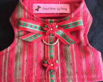 Dog Harness, Size X-Small, Poinsettias and Stripes