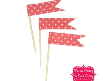 24 RED Polka Dot CUPCAKE TOPPERS / Food Flags / Birthday Party Decorations and Supplies / Wedding / Baby Shower