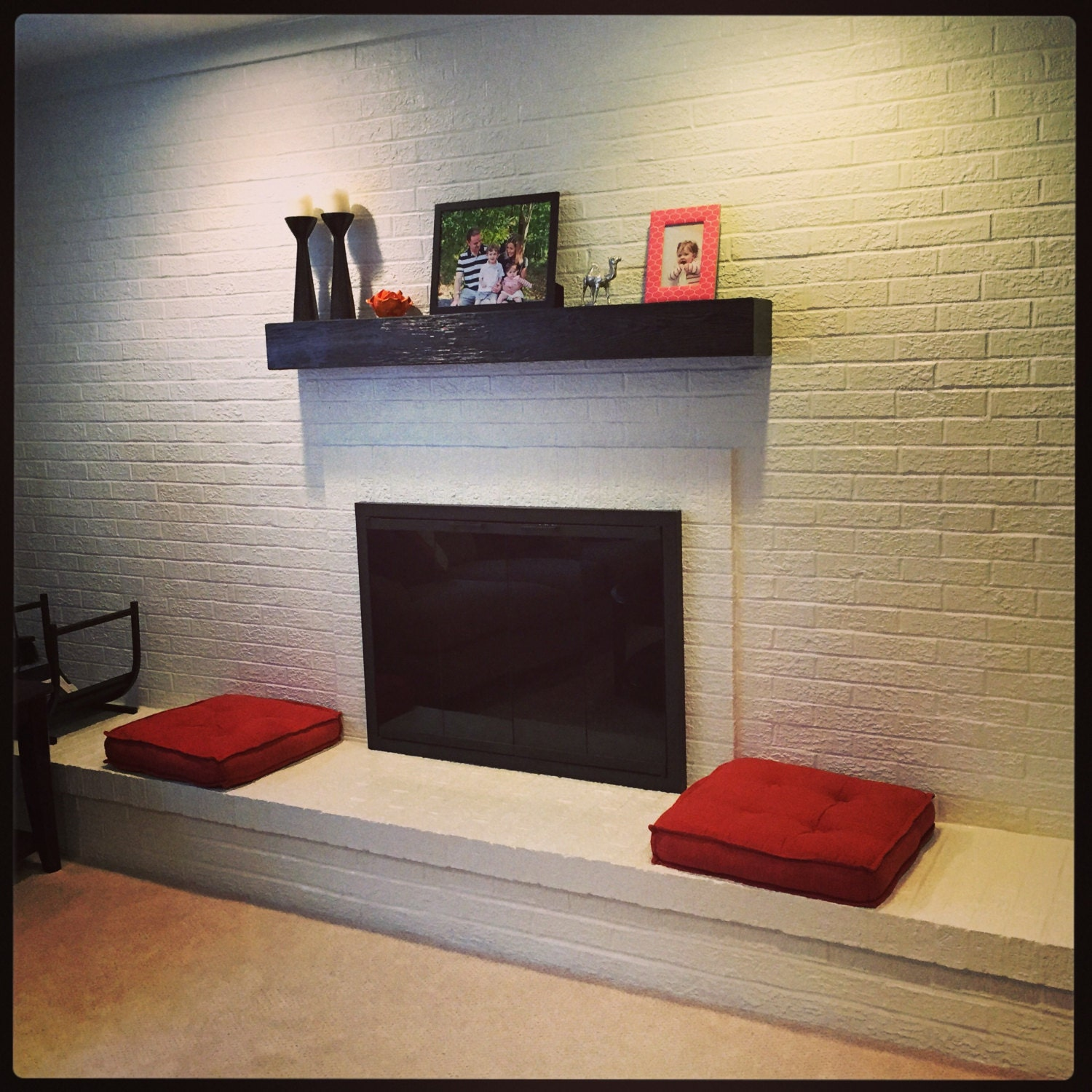 Black Fireplace mantel. Rugged Wood Mantel.60 Long x
