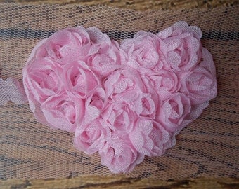 "Light Pink 2.5"" Chiffon Heart Trim,Chiffon Ribbon Heart, Headband Supplies,Wholesale"