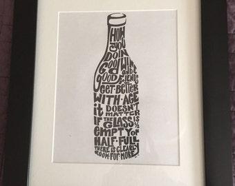 Digital Download - Word Art Wine Bottle Wall Decor, Word Art, Wine Art, Wine Decor, Wall Decor, Wall Art, Digital Download, Printable