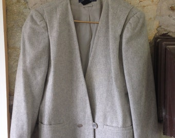 Grey Pleated One Button Vintage Blazer