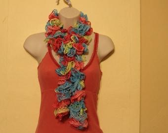 Cotton candy knit ruffled sashay scarf