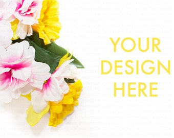 Flower Styled Stock Photo | Yellow Pink | White Desk | Product Mockup | Web Design Graphic | Flower Background | Stock Photography