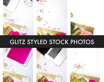 Glitz Styled Stock Photography Bundle (7 Stock Photos) | Pink | Keyboard | Website Background | Glitter | Gold