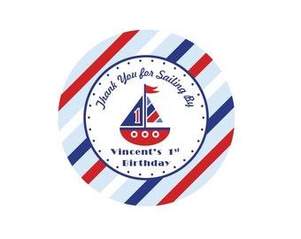 nautical favor tags, kids birthday favor tag, party gift tag, birthday party favor tag, sailboat favor tag, personalized birthday favors