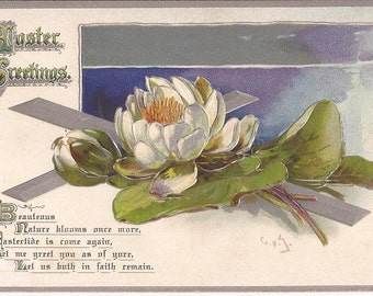 """Antique Easter postcard, """"Easter Greetings"""", signed illustration with initials CVG, religious image"""