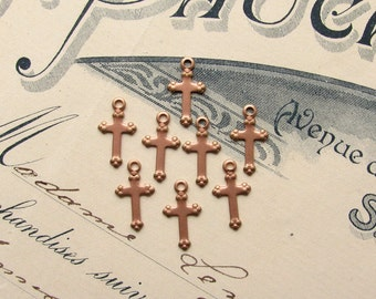 Tiny golden rose cross charms, (8) 12mm mini crosses, rose gold finished brass, lead nickel free, religious symbol, little cross charm