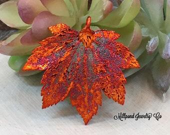 Full Moon Maple Leaf Pendant, Copper Dipped Maple Leaf Pendant, Copper Maple Leaf, Leaf Pendant, Nature Pendant