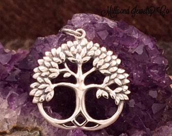 Tree of Life Pendant, Tree of Life Charm, Leafy Family Tree Pendant, Family Tree Charm, Sterling Silver Tree of Life, PS01185