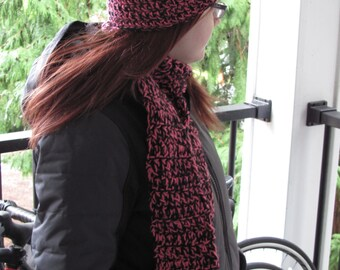 Pink and Black Fringe Scarf & Hat Set