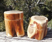 White Cedar Juniper Salt Cellars / Treasure Keepers with Magnetic Lids.  May be purchased alone or with Maldon Sea Salt.
