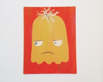 """Original 11""""x14"""" Grumpy Yellow Monster/Alien Painting- Orange, Mustard Yellow, Alien, Monster, Grumpy"""