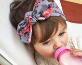 ADULT Gray floral top knot headband