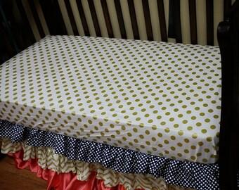 3 tiered ruffle crib skirt. You choose colors.