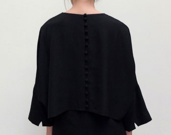 Minimalist LBD with kimono sleeves and center back button adornment