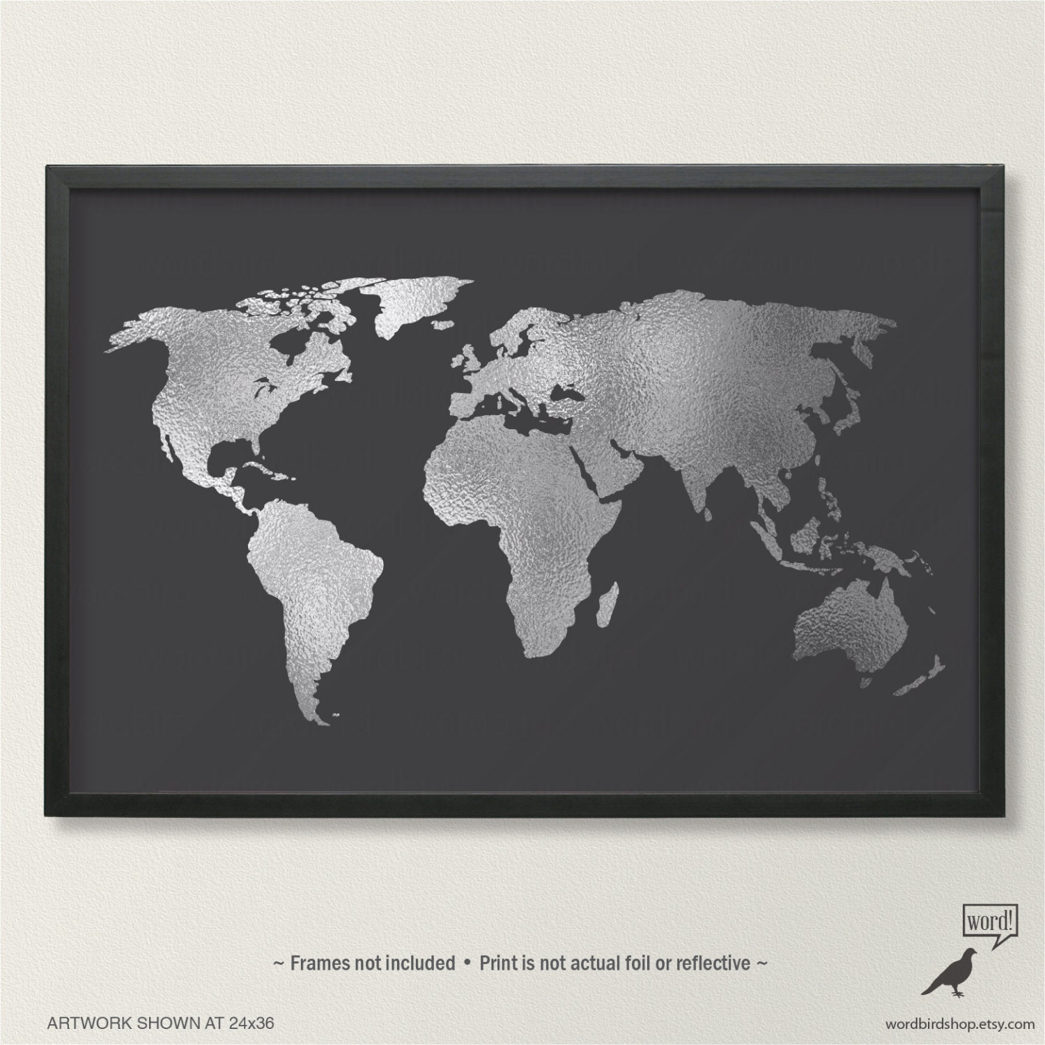black and white world map up to 24x36 large world map poster. Black Bedroom Furniture Sets. Home Design Ideas
