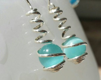 Sterling Silver and Aquamarine Cat Eye Wire Spiral Wrapped Caged Dangle Earrings