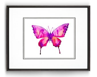 Pink Watercolor Butterfly Art Print