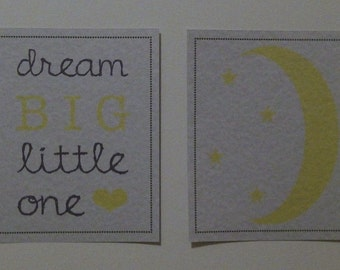 Two 8x10 Dream Big, Little One and Moon and Stars Nursery Art