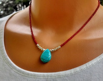 Red coral and turquoise necklace, turquoise pendant, coral necklace, gemstone necklace, red beads necklace, turquoise necklace,