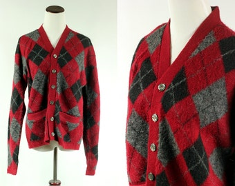 60's Crimson Argyle Acrylic Sweater